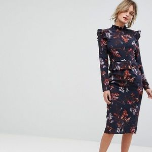 Hope & Ivy Long Sleeve Floral Dress w/ Frill